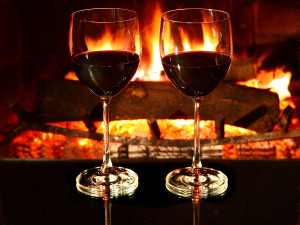 Romantic dinner for two, two glasses of red wine